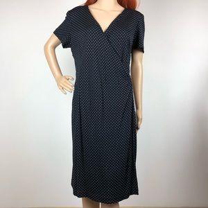 Kay Unger Polka Dot Wrap Midi Dress Black Career